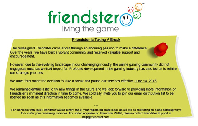 Friendster Shuts Down